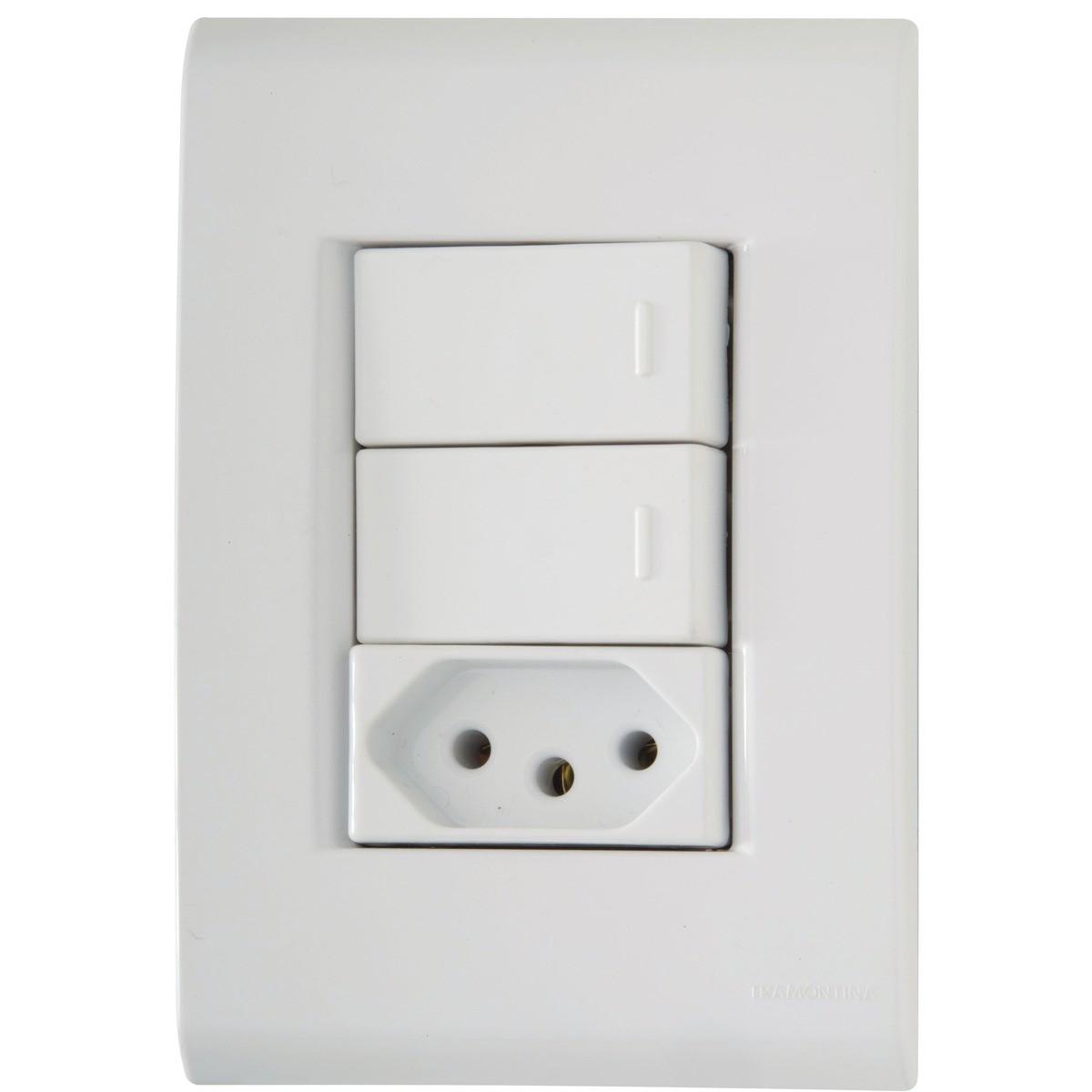 Conj 4X2 - 2 interruptores simples 10A 2